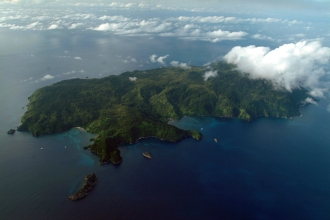 Ariel view of Cocos Island.