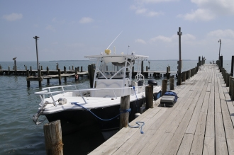 St George's Caye Resort Boat moored in Belize City.