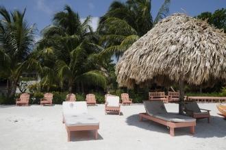 View from beach toward Oceanfront Cabanas.