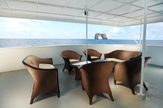 Shaded seating area on mid deck