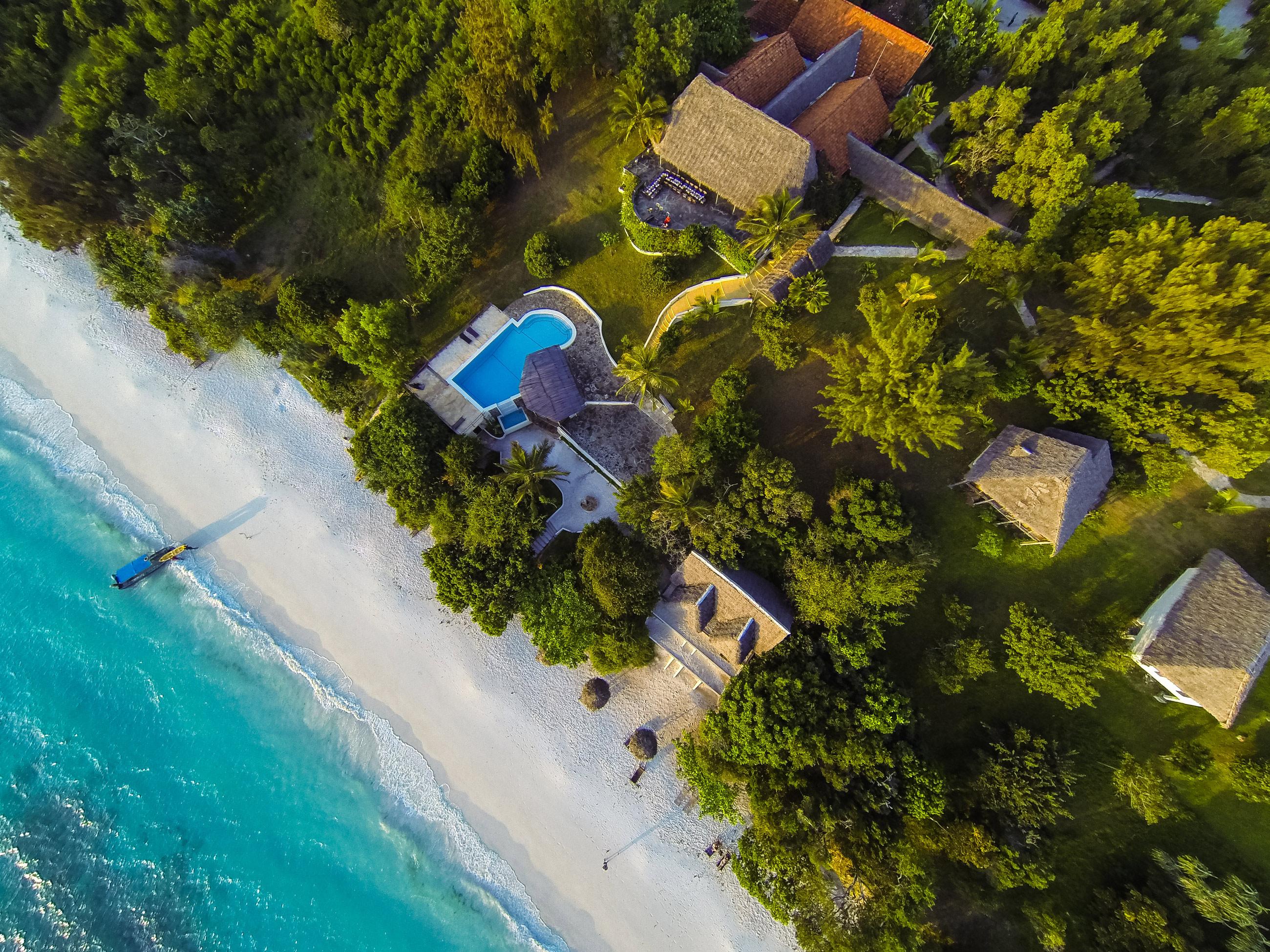 Aerial View Of The Manta Resort.