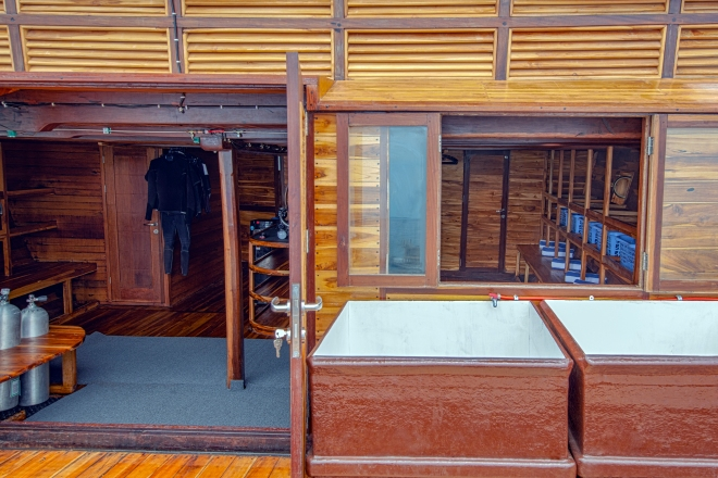 Coralia Liveaboard dive centre back platform with rinse tanks