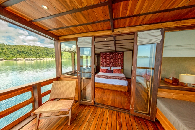 Coralia Liveaboard Master cabin with Papua Explorers Resort